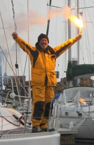Gerry Hughes arriving in Troon Harbour after completing solo circumnavigation. Photo by Priscilla Travis.