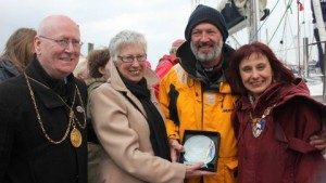 Left to right: Councillor Gerry Leonard (Deputy Provost of Glasgow), Ocean Cruising Club member Frances Rennie, Gerry Hughes, and Councillor Helen (Provost of South Ayrshire) Moonie. Photo by Priscilla Travis.