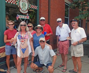 Salty Dawgs at the Bristol 4th of July parade, outside Leo's Ristorante on the parade route. Photo includes Jenny McNamara (in patriotic T-shirt), Charlie McNamara, Sarah Bell, Craig and Karene White, Gil and Joy Smith, and SDR co-founder Bill Knowles (at right).
